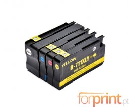 4 Cartuchos de Tinta Compatibles, HP 711 XL Negro 73ml + Colores 26ml
