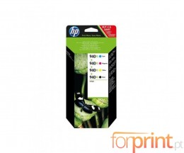 4 Cartuchos de tinta Originales, HP 940 XL Negro 50ml + Colores 16ml