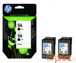 2 Cartuchos de tinta Originales, HP 56 Negro 19ml ~ 520 Paginas