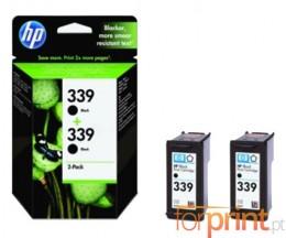 2 Cartuchos de tinta Originales, HP 339 Negro 21ml