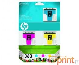 3 Cartuchos de tinta Originales, HP 363 Colores 4ml