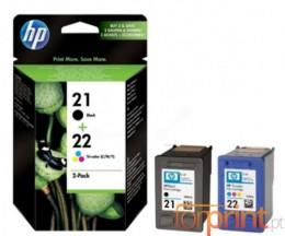 2 Cartuchos de tinta Originales, HP 21 Negro 5ml + 22 Colores 5ml ~ 360 Paginas