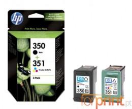 2 Cartuchos de tinta Originales, HP 350 Negro 4.5ml + HP 351 Colores 3.5ml