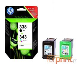 2 Cartuchos de tinta Originales, HP 338 Negro 11ml + HP 343 Colores 7ml