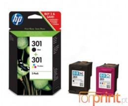 2 Cartuchos de tinta Originales, HP 301 Negro 3ml + Colores 3ml