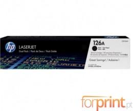 2 Cartuchos de Toneres Originales, HP 126A Negro ~ 1.200 Paginas