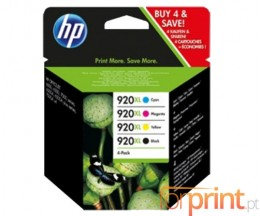 4 Cartuchos de tinta Originales, HP 920 XL Negro 32ml + Colores 6ml