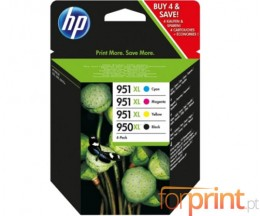 4 Cartuchos de tinta Originales, HP 950 XL / HP 951 XL Negro 50ml + Colores 17ml