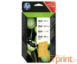 4 Cartuchos de tinta Originales, HP 364 XL Negro + COR