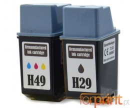 2 Cartuchos de tinta Compatibles, HP 29 Negro 39ml + HP 49 Colores 21ml