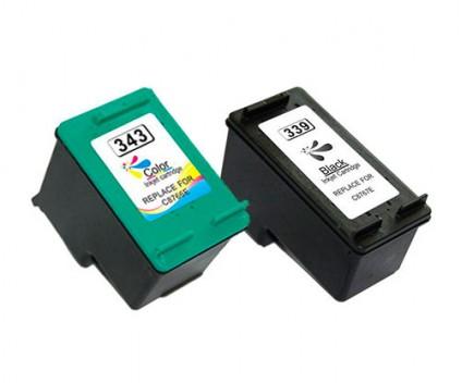 2 Cartuchos de tinta Compatibles, Hp 343 Colores 18ml + HP 339 Negro 25ml