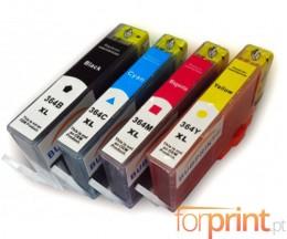 4 Cartuchos de tinta Compatibles, HP 364 XL Negro 18.6ml + Colores 14.6ml