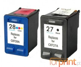 2 Cartuchos de tinta Compatibles, HP 28 Colores 18ml + HP 27 Negro 22ml