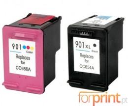 2 Cartuchos de tinta Compatibles, HP 901 XL Negro 20ml + Colores 18ml