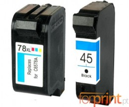 2 Cartuchos de tinta Compatibles, HP 78 Colores 39ml + HP 45 Negro 40ml