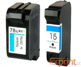 2 Cartuchos de tinta Compatibles, HP 78 Colores 39ml + HP 15 Negro 40ml