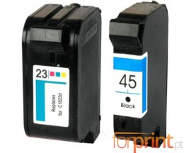 2 Cartuchos de tinta Compatibles, HP 23 Colores 39ml + HP 45 Negro 40ml