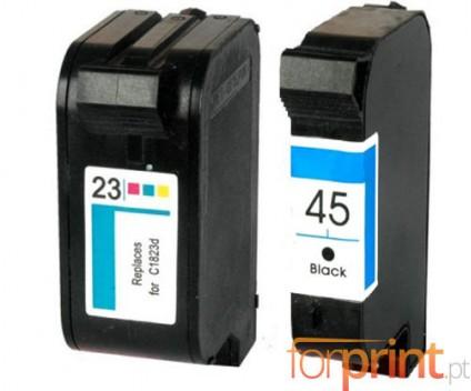 2 Cartuchos de tinta Compatibles, HP 23 Colores 39ml + HP 45 Negro 40ml