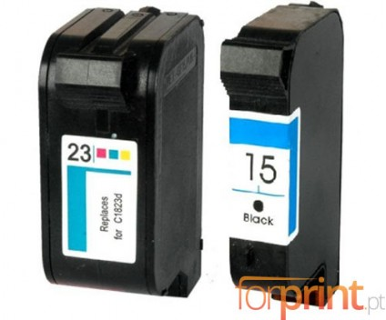 2 Cartuchos de tinta Compatibles, HP 23 Colores 39ml + HP 15 Negro 40ml