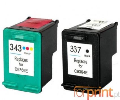 2 Cartuchos de tinta Compatibles, HP 337 Negro 18ml + HP 343 Colores 18ml