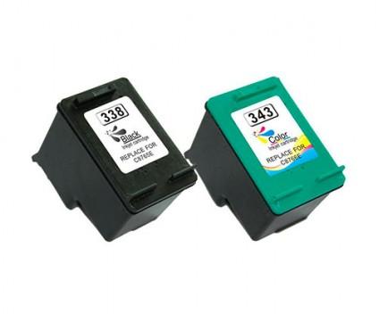 2 Cartuchos de tinta Compatibles, HP 338 Negro 20ml + HP 343 Colores 18ml