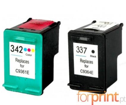2 Cartuchos de tinta Compatibles, HP 342 Colores 18ml + HP 337 Negro 18ml