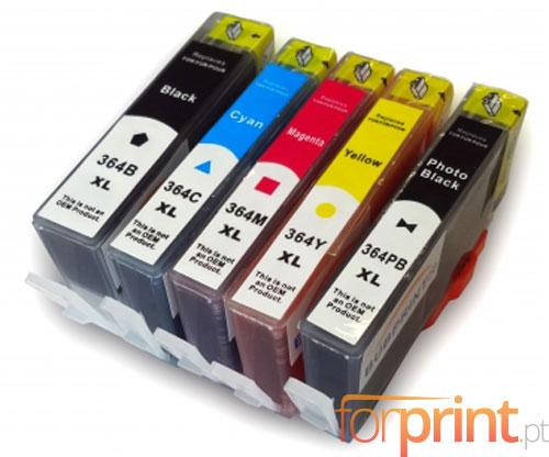 5 Cartuchos de tinta Compatibles, HP 364 XL Negro 18.6ml + Colores 14.6ml