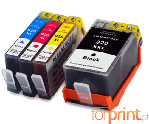 4 Cartuchos de tinta Compatibles, HP 920 XL Negro 53ml + Colores 14.6ml