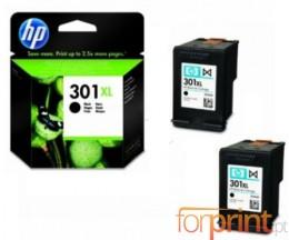 2 Cartuchos de tinta Originales, HP 301 XL Negro 8ml