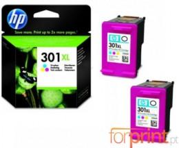 2 Cartuchos de tinta Originales, HP 301 XL Colores 8ml
