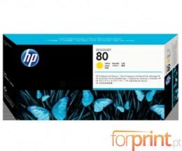 Cabeça de impressão Original HP 80 Amarillo e dispositivo de limpeza