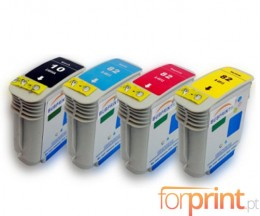 4 Cartuchos de tinta Compatibles, HP 10 Negro 69ml + HP 82 Colores 69ml