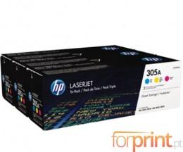 3 Cartuchos de Toneres Originales, HP 305A Colores CMY