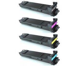 4 Cartuchos de Toneres Compatibles, Konica Minolta A0DKX53 Negro + Colores ~ 8.000 Paginas