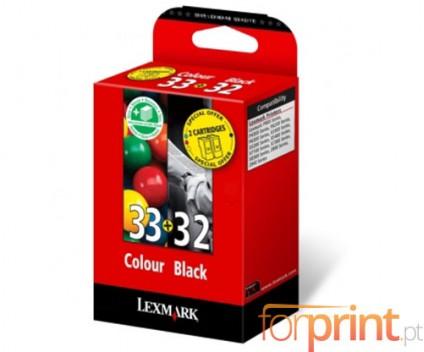 2 Cartuchos de tinta Originales, Lexmark 33 Colores 11.5ml + Lexmark 32 Negro 15.6ml