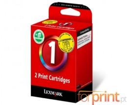 2 Cartuchos de tinta Originales, Lexmark nº 1 Colores 18ml ~ 200 Paginas
