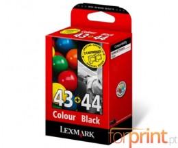 2 Cartuchos de tinta Originales, Lexmark 43 XL Colores 24ml + 44 XL Negro 20ml