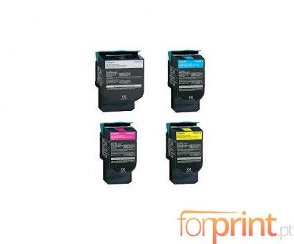 4 Cartuchos de Toneres Compatibles, Lexmark C544X Negro + Colores ~ 6.000 / 4.000 Paginas