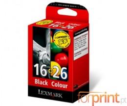 2 Cartuchos de tinta Originales, Lexmark 16 Negro 14ml + Lexmark 26 Colores 13.8ml