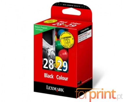 2 Cartuchos de tinta Originales, Lexmark 28 Negro 10ml + 29 Colores 9ml