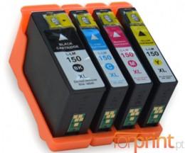4 Cartuchos de tinta Compatibles, Lexmark 150 XL Negro 35ml + Colores 18ml
