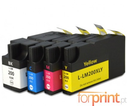 4 Cartuchos de tinta Compatibles, Lexmark 200 XL / 210 XL Negro 82ml + Colores 36ml