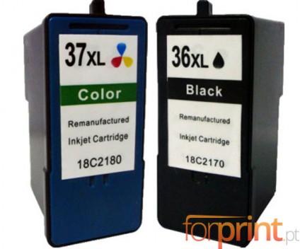 2 Cartuchos de tinta Compatibles, Lexmark 37 XL Colores 15ml + Lexmark 36 XL Negro 21ml