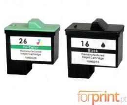 2 Cartuchos de tinta Compatibles, Lexmark 26 / 27 Colores 12ml + Lexmark 16 / 17 Negro 15ml