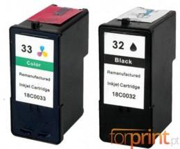 2 Cartuchos de tinta Compatibles, Lexmark 32 Colores 15ml + Lexmark 33 Negro 21ml