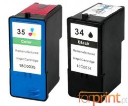 2 Cartuchos de tinta Compatibles, Lexmark 35 Colores 15ml + Lexmark 34 Negro 21ml