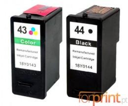 2 Cartuchos de Tinta Compatibles, Lexmark 44 XL Negro 21ml + Lexmark 43 XL Colores 15ml
