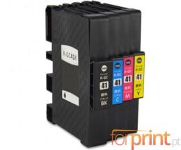 4 Cartuchos de tinta Compatibles, Ricoh GC-41 / GC-41 XXL Negro 36ml + Colores 22ml