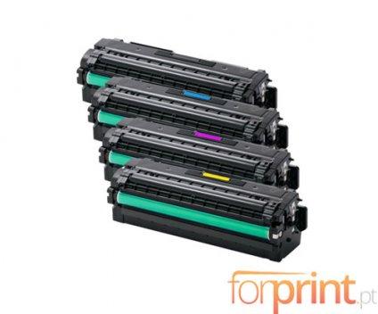 4 Cartuchos de Toneres Compatibles, Samsung 505L Negro + Colores ~ 6.000 / 1.500 Paginas