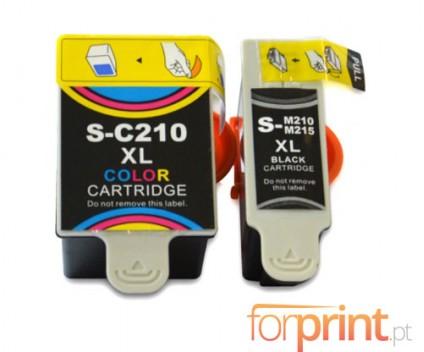 2 Cartuchos de tinta Compatibles, Samsung M-215 Negro 20ml + C-210 Colores 40ml